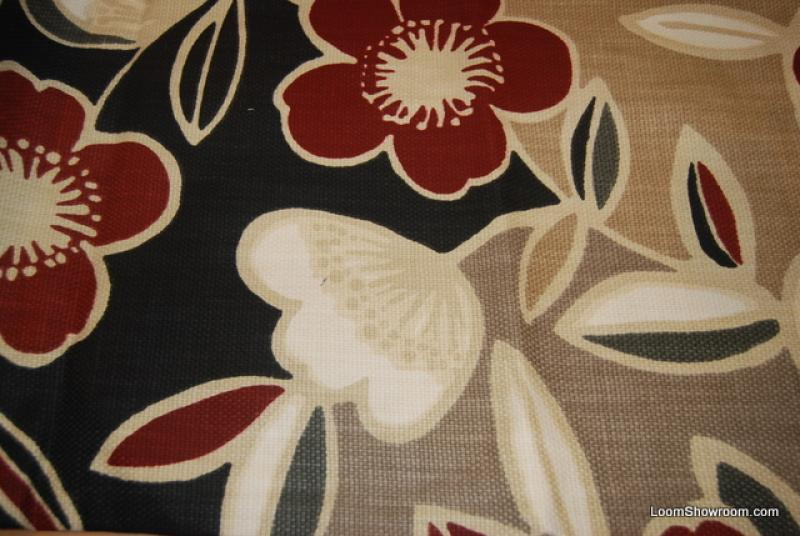 Retro Modern Barkcloth Heavy Textured Red White Black Tan ...