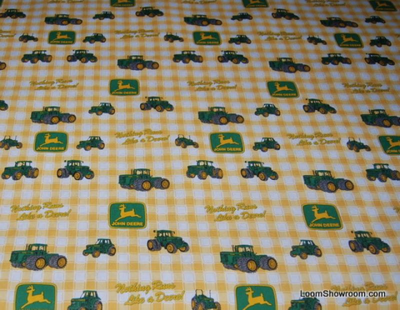 HD747 John Deere Tractor Flannel Backed Tablecloth Fabric