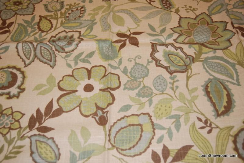 Crewel Style Print Floral Neutral Cream Blue Green Block