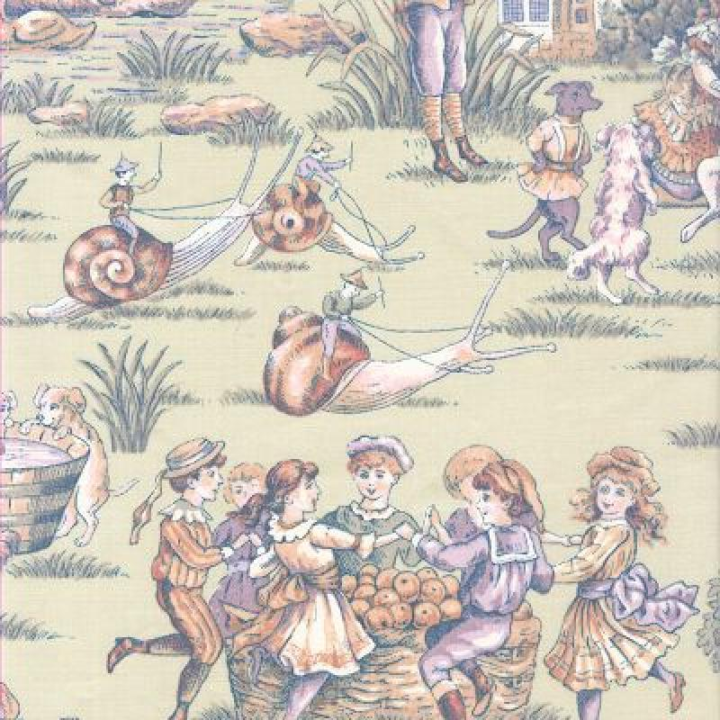 Toile childrens nursery rhyme old english style lickety for Kids drapery fabric