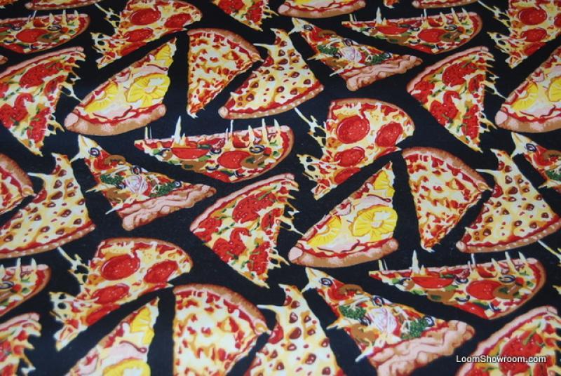 Delicious Pizza Slices Pepperoni Pepper Tomato Cotton fabric Quilt ...