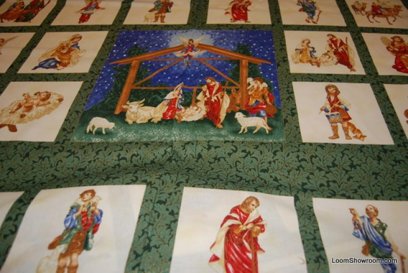P151  Nativity Jesus, Mary and Joseph Manger scene Square panel print cotton fabric quilt fabric Christmas