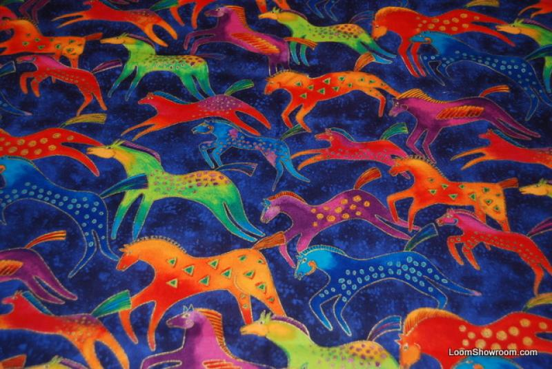 P58 laurel burch running horse dancing horses cotton fabric for Horse fabric for kids