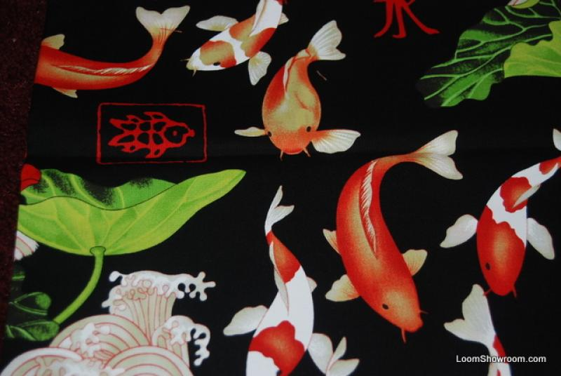 R159 japan china asia koi fish wave ocean lotus lilly pad for Koi fish print fabric