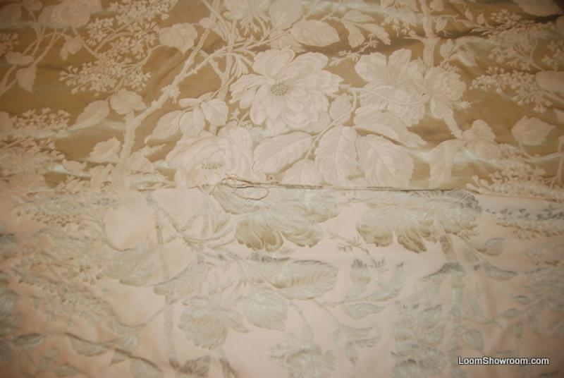 Ralph Lauren Brocade Green Metallic Leaves Cream