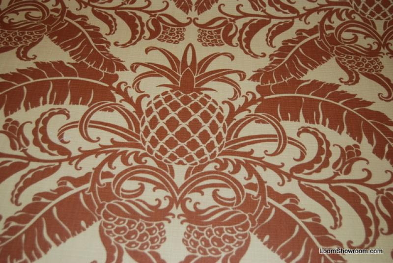 S344 Tommy Bahama Pineapple Damask Print Leaves Design Cream background Famous Maker Printed Soft Indoor and Outdoor Fabric