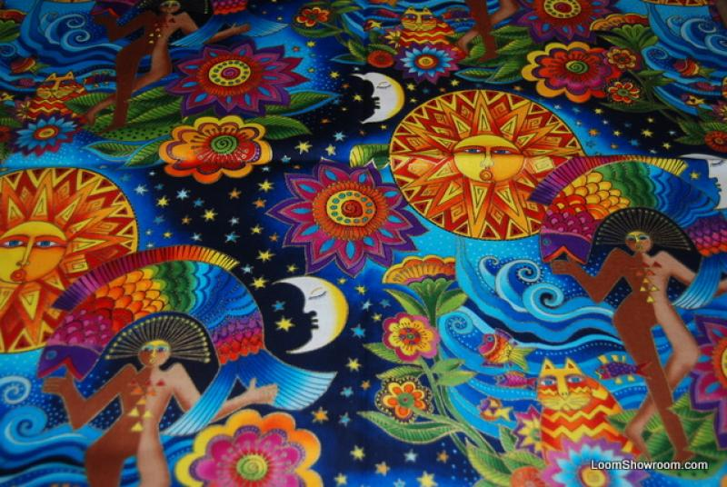 T125 laurel burch egypt sun and moon flowers plants leaves for Sun and moon fleece fabric