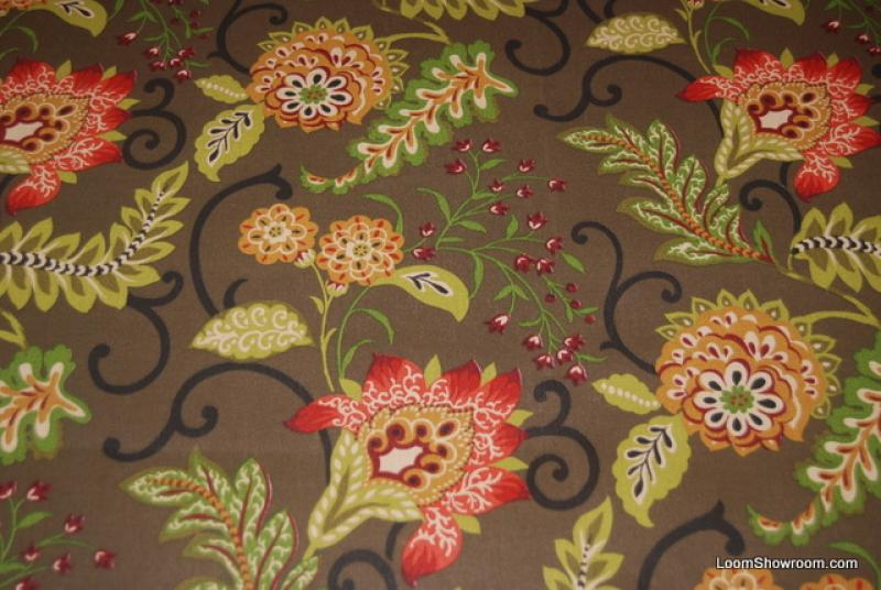 WB159 Jacobean Floral Print Flowers Brown Background
