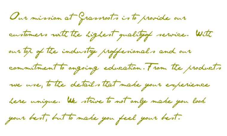 Grassroots aveda salon spa for A mission statement for a beauty salon