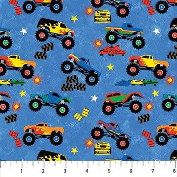 Northcott monster truck madness for Monster truck fabric