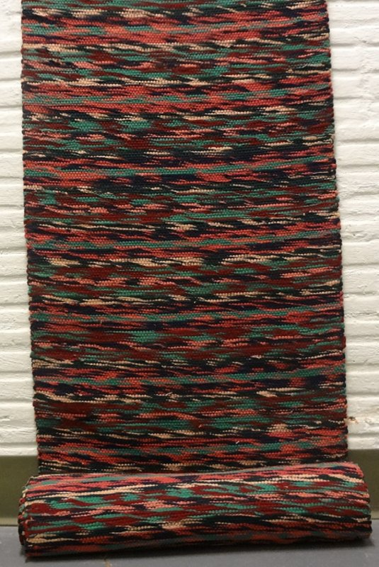 RAG CARPET VINTAGE RUNNER, unusual 'twist' weave,  wool, Maine