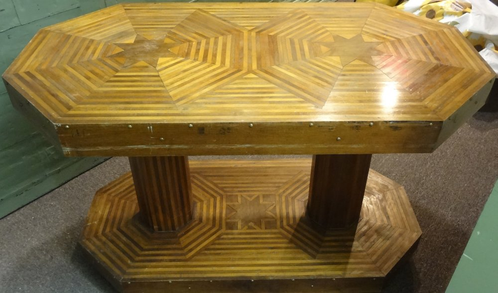 PARQUETRY CONSOLE or CENTER HALL ANTIQUE TABLE, STARS MOTIFS