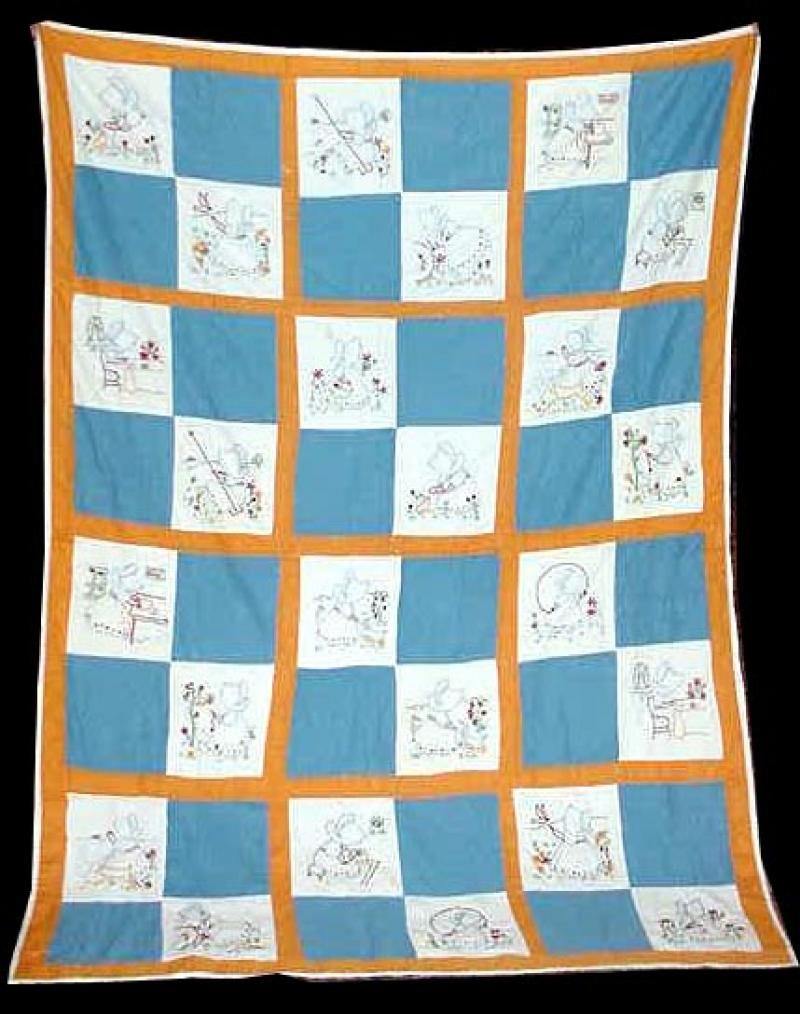 SUNBONNET SUE DOING CHORES TRUNDLE QUILT