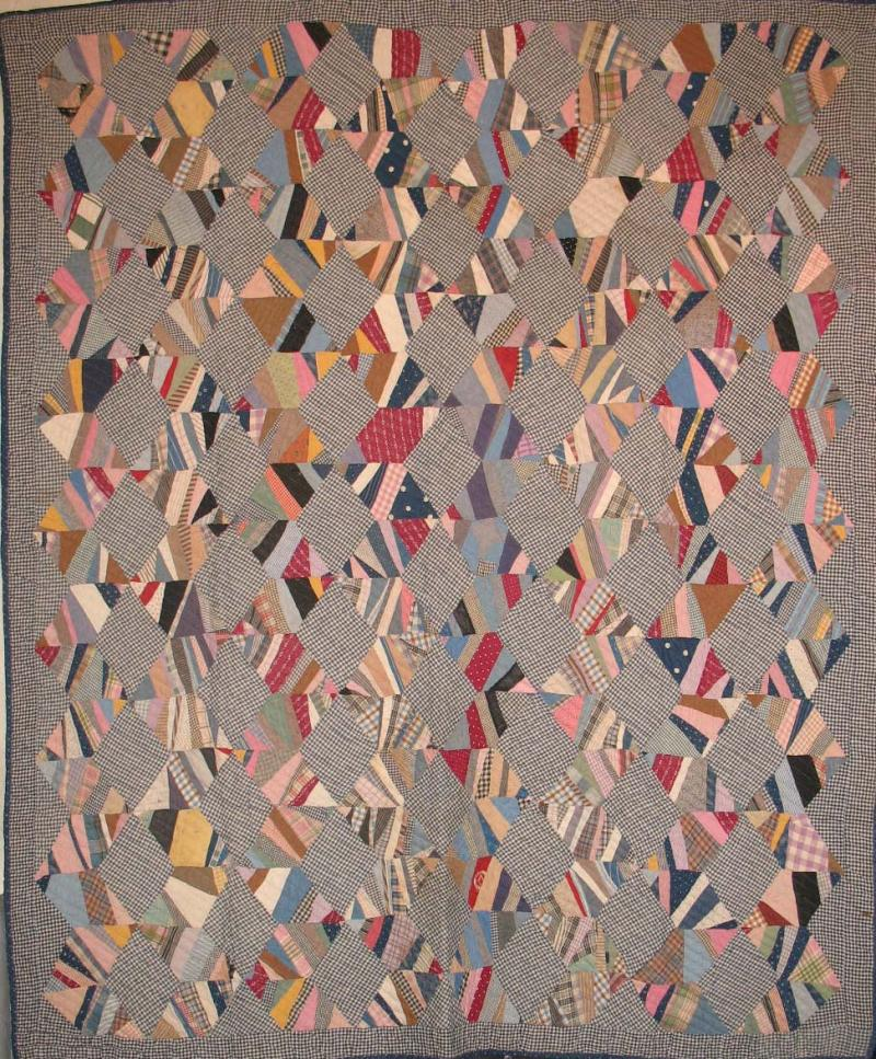 String Diamonds Zigzag Antique Quilt