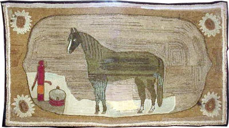 HORSE AT PUMP ANTIQUE HOOKED RUG