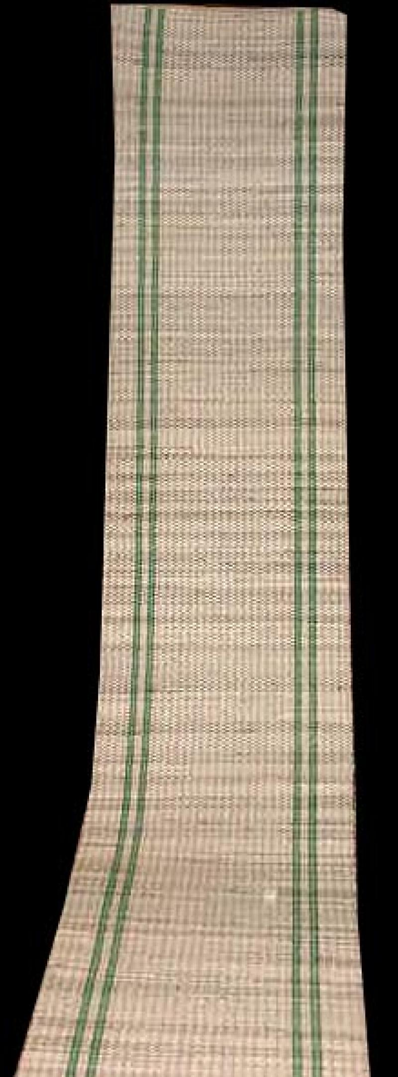 AMISH ANTIQUE RAG CARPET, GREEN STRIPES