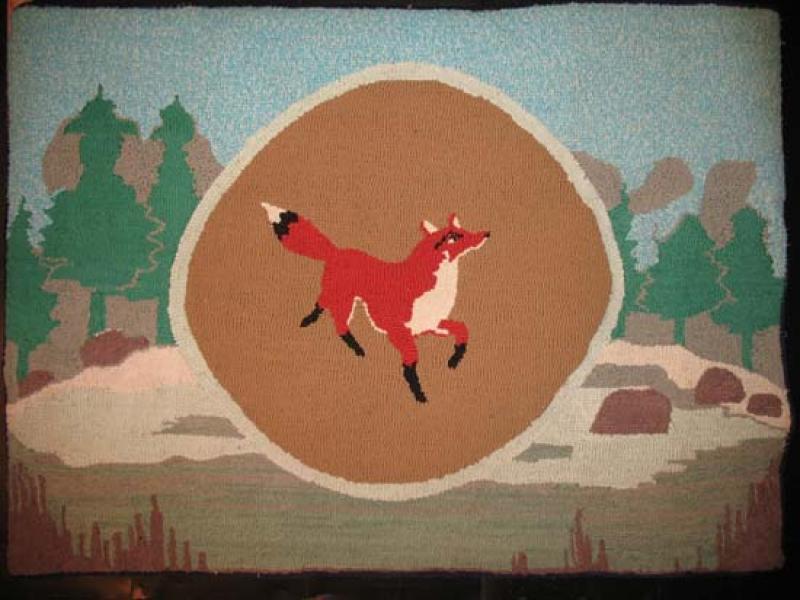FOX IN LANDSCAPE VINTAGE HOOKED RUG