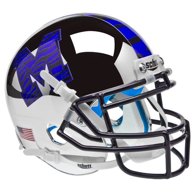 Football Helmet Chrome : Memphis tigers chrome schutt authentic mini football helmet
