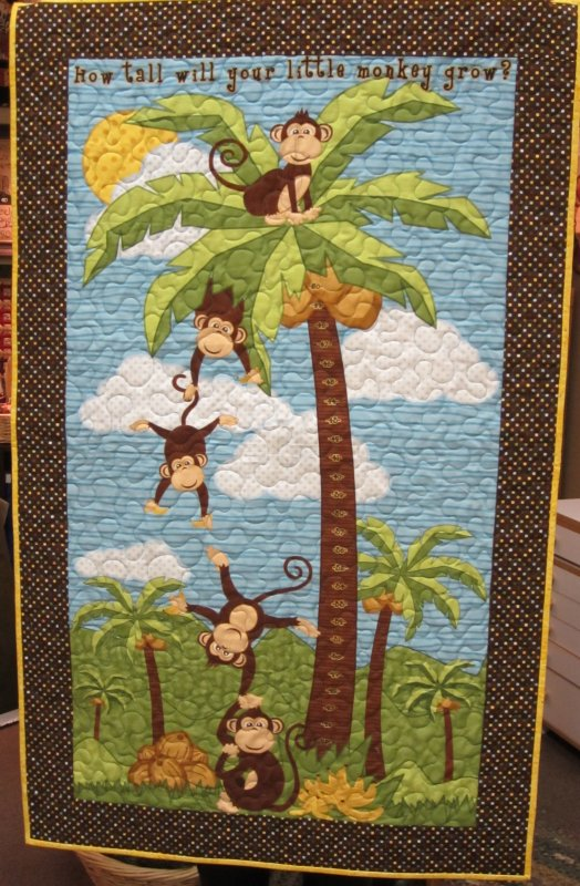 Fabric monkey in coconut tree nursery panel baby quilt for Nursery monkey fabric