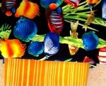 Fabric Kits- Tropical Fish on black/ Ombre yellow