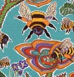Terrie Mangat-The Bee's Knees-TM25-Bees and Violets-Teal