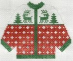 Red with Green Reindeer Sweater Ornament