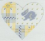 Yellow & Pink Plaid Heart with Blue Bunny