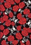 Timeless Treasures Skulls and Roses C 7664 Red
