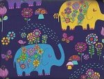 Timeless Treasures Kidz Elephants C8755 Navy