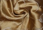 803 Exquisite Liquid Gold Jacquard Silk Fabric Trailing Vine Floral Damask Reversible Drapery Fabric