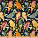 Boho Chic Bird Collage Retro Whimsy Print Indoor and OUTDOOR Sun Safe Famous Maker Outdoor Fabric SRI123