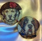 Set of 2 Extra Large 1 1/2 Classic Dog Portrait Tapestry Fabric Buttons France Hand Woven Hand Made JMF141