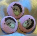 Set of 3 Large Hedgehog Japanese Style Soft Flannel Fabric Buttons 1 1/8