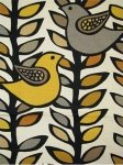 $17.99 per yard! Scandinavian Retro Modern Folk Art Bird Leaves Black Trees Branches Linen Texture Heavy Cotton Fabric Drapery Fabric LHD115