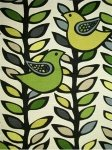 $17.99 per yard! Scandinavian Retro Modern Folk Art Bird Leaves Black Trees Branches Linen Texture Heavy Cotton Fabric Drapery Fabric LHD116