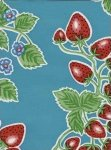 Oilcloth Bright Turquoise Blue with Strawberry Print Vinyl Classic Oilcloth Vintage Style $9.99 per yard OC107