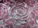 Satin Rose Flower Applique Apparel Fabric Event Fabric Rose Pink KOS002