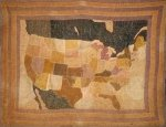 MAP of the UNITED STATES AND CANADA ANTIQUE QUILT