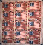CENTENNIAL 1876 AMERICAN FLAGS COMMEMORATIVE ANTIQUE QUILT