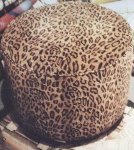 VINTAGE OTTOMAN in LEOPARD PRINT VELVET 
