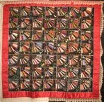 FANS ANTIQUE CRAZY TYPE QUILT, silk, elaborate embroidery