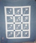MONTHS OF THE YEAR VINTAGE QUILT  blue and white