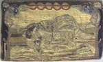 JUNGLE CAT ON A TREE BRANCH ANTIQUE HOOKED RUG