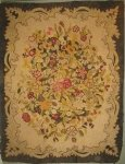 WALDEBORO TYPE FLORAL MEDALLION ANTIQUE HOOKED RUG