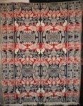 BIRDS FEEDING THEIR YOUNG, BOSTON TOWN BORDER ANTIQUE JACQUARD COVERLET
