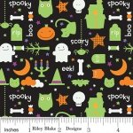 Riley Blake TRICK OR TREAT Fabric - Night Black Halloween