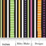 Riley Blake TRICK OR TREAT Fabric -Stripes Black