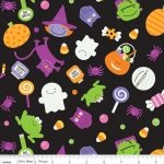 Riley Blake TRICK OR TREAT Fabric - Main Toss Black Halloween