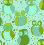 Valori Wells Della FLANNEL Fabric - Little Owls Grass Green