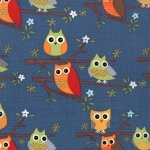 Moda Ten Little Things - Owls on Navy Blue